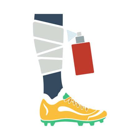 Soccer Bandaged Leg With Aerosol Anesthetic Icon. Flat Color Design.