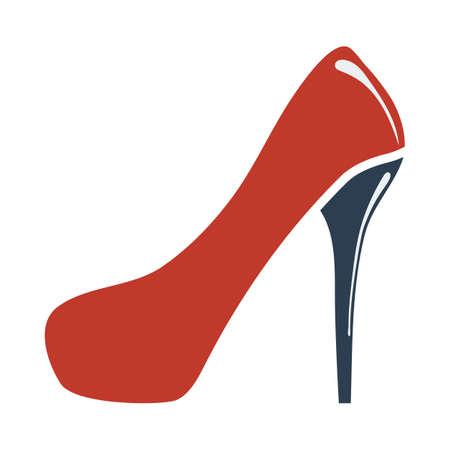 Female Shoe With High Heel Icon. Flat Color Design. Vector Illustration. Vektorové ilustrace