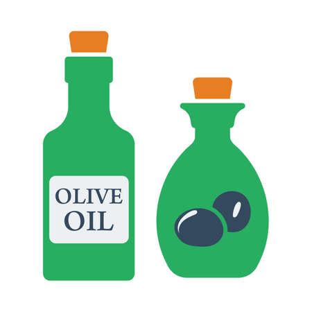 Bottle Of Olive Oil Icon. Flat Color Design. Vector Illustration.