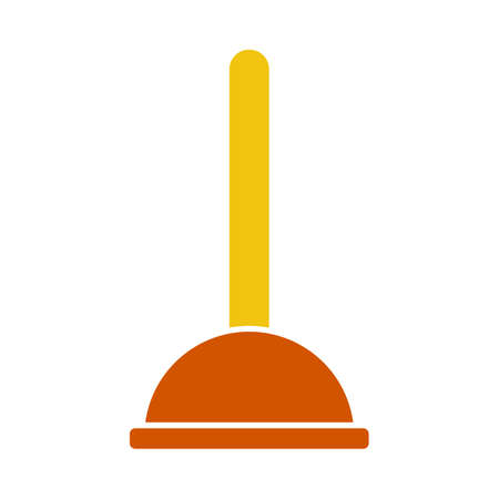Plunger Icon. Flat Color Design. Vector Illustration.
