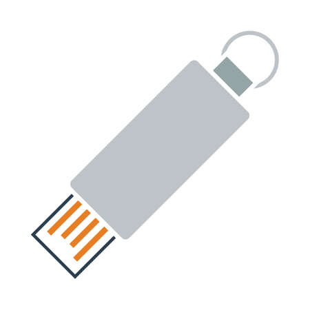 USB Flash Icon. Flat Color Design. Vector Illustration.