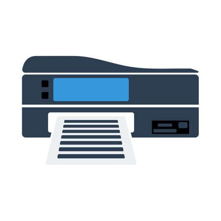 Printer Icon. Flat Color Design. Vector Illustration.