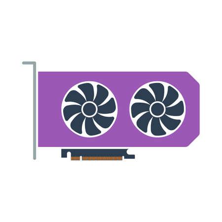 GPU Icon. Flat Color Design. Vector Illustration.
