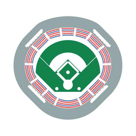 Baseball Stadium Icon. Flat Color Design. Vector Illustration.