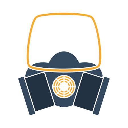 Icon Of Chemistry Gas Mask. Flat Color Design. Vector Illustration. Vektorové ilustrace