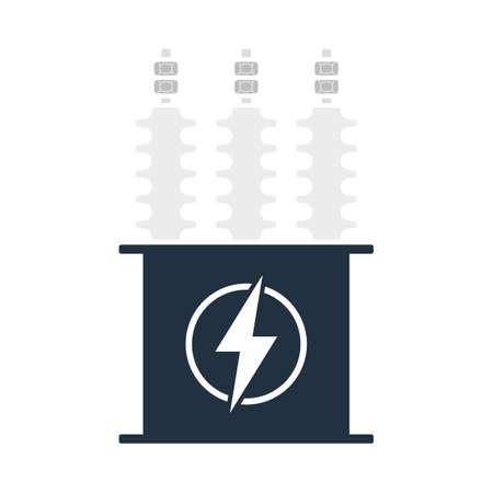 Electric Transformer Icon. Flat Color Design.