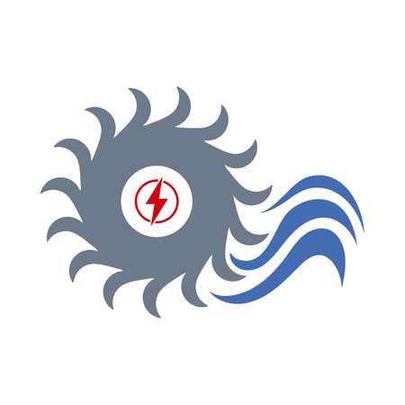 Water Turbine Icon. Flat Color Design. Illustration