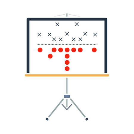 American Football Game Plan Stand Icon. Flat Color Design. Vector Illustration.