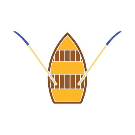 Paddle Boat Icon. Flat Color Design. Vector Illustration.