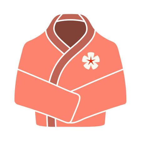 Spa Bathrobe Icon. Flat Color Design. Vector Illustration.