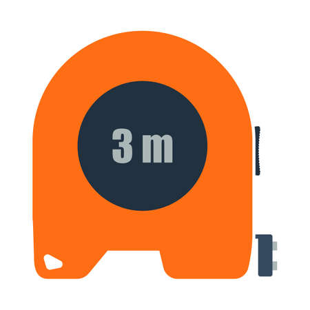 Icon Of Constriction Tape Measure. Flat Color Design. Vector Illustration.