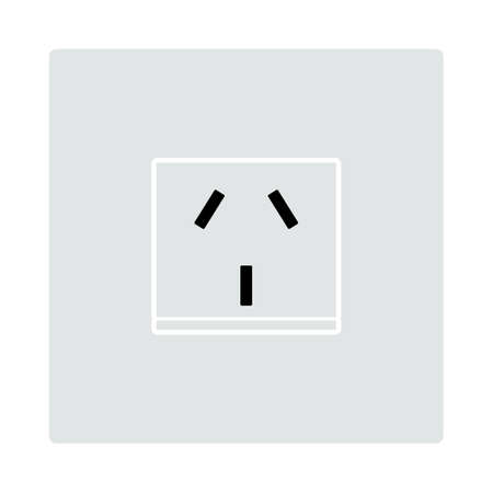 China Electrical Socket Icon. Flat Color Design. Vector Illustration.