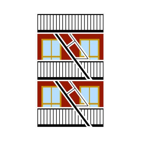 Emergency Fire Ladder Icon. Flat Color Design. Vector Illustration. Vettoriali