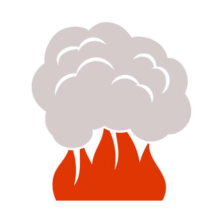 Fire And Smoke Icon. Flat Color Design. Vector Illustration.