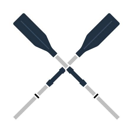 Icon Of Boat Oars. Flat Color Design. Vector Illustration. Illusztráció