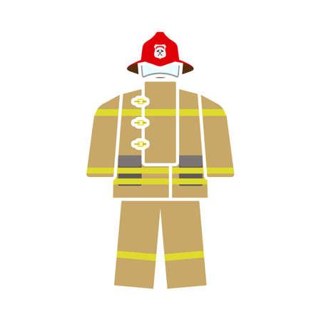 Fire Service Uniform Icon. Flat Color Design. Vector Illustration. Illusztráció