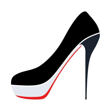 High Heel Shoe Icon. Flat Color Design. Vector Illustration.