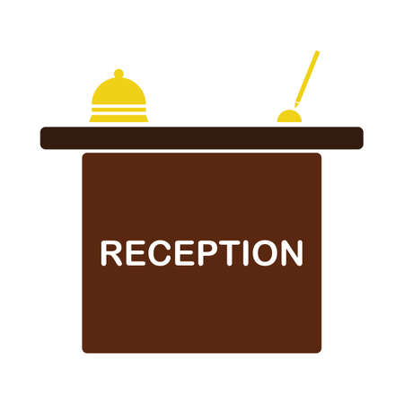 Hotel Reception Desk Icon. Flat Color Design. Vector Illustration.