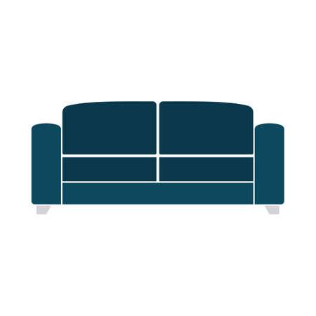 Office Sofa Icon. Flat Color Design. Vector Illustration.