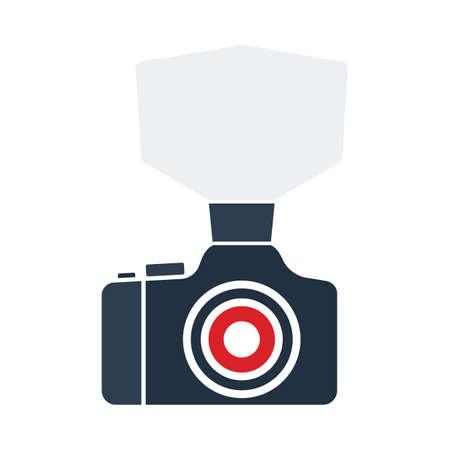 Camera With Fashion Flash Icon. Flat Color Design. Vector Illustration. Иллюстрация