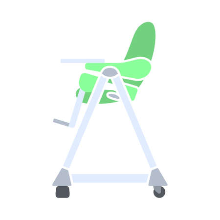 Baby High Chair Icon. Flat Color Design. Vector Illustration. Ilustrace