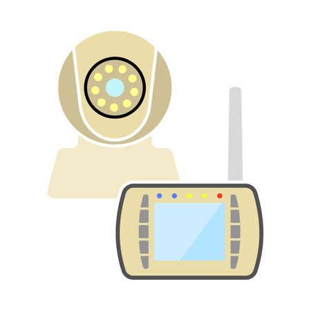 Baby Monitor Icon. Flat Color Design. Vector Illustration.