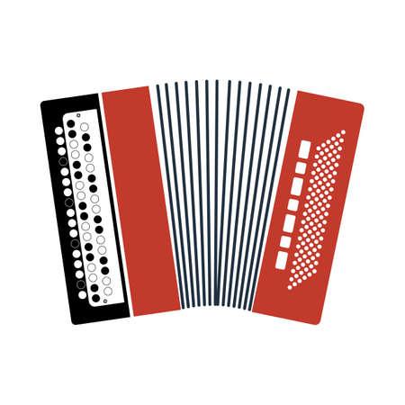 Accordion Icon. Flat Color Design. Vector Illustration.