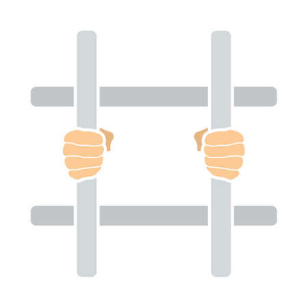 Hands Holding Prison Bars Icon. Flat Color Design. Vector Illustration.  イラスト・ベクター素材