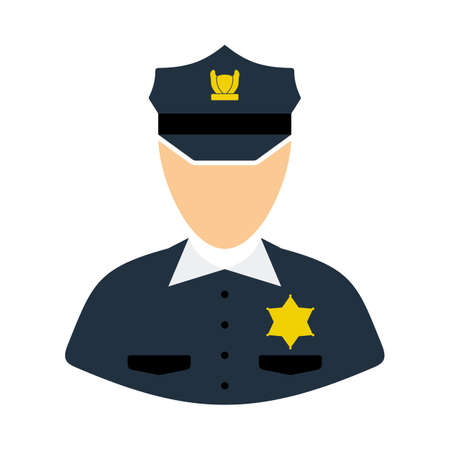 Policeman Icon. Flat Color Design. Vector Illustration.