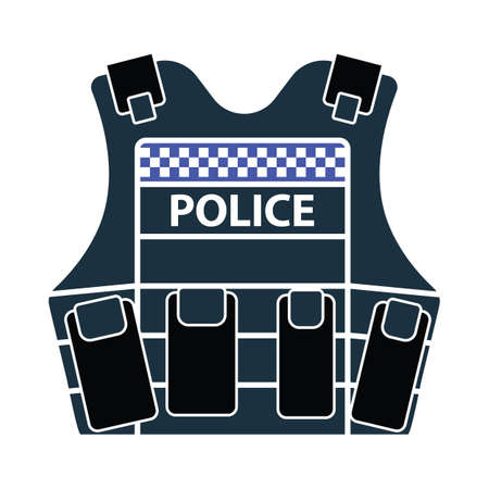 Police Vest Icon. Flat Color Design. Vector Illustration.