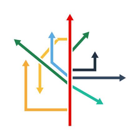 Direction Arrows Icon. Flat Color Design. Vector Illustration. Иллюстрация