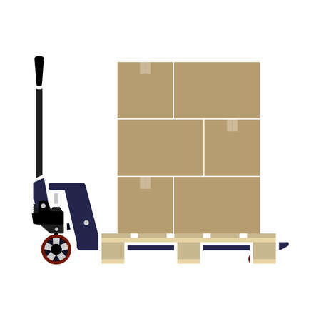 Hand Hydraulic Pallet Truc With Boxes Icon. Flat Color Design. Vector Illustration.