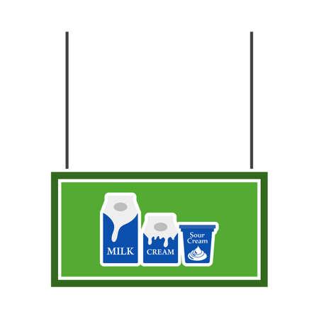 Milk Market Department Icon. Flat Color Design. Vector Illustration. Ilustração Vetorial