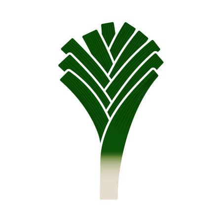 Leek Onion Icon. Flat Color Design. Vector Illustration.