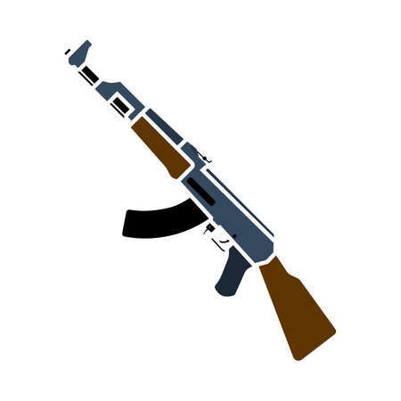 Russian Weapon Rifle Icon. Flat Color Design. Vector Illustration.