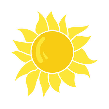 Sun Icon. Flat Color Design. Vector Illustration. 矢量图像