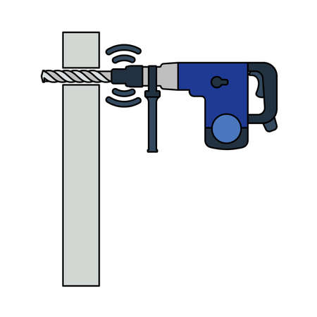 Icon Of Perforator Drilling Wall. Outline With Color Fill Design. Vector Illustration.