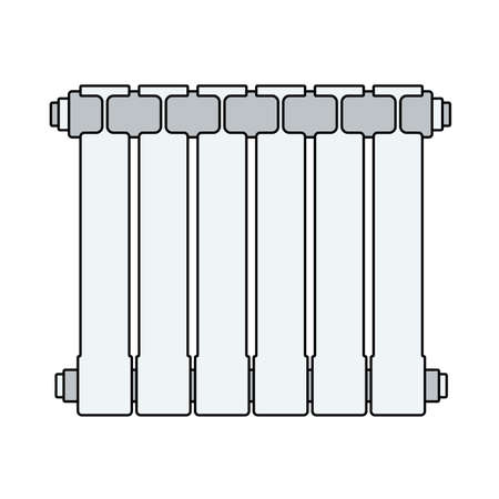 Icon Of Radiator. Outline With Color Fill Design. Vector Illustration. 矢量图像