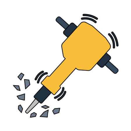 Icon Of Construction Jackhammer. Outline With Color Fill Design. Vector Illustration.