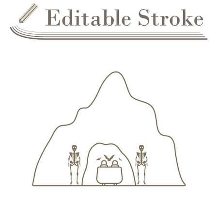 Scare Cave Icon. Editable Stroke Simple Design. Vector Illustration. 向量圖像