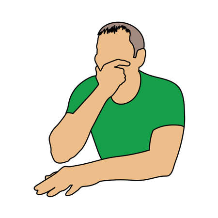 Thinking Man Icon. Outline With Color Fill Design. Vector Illustration.