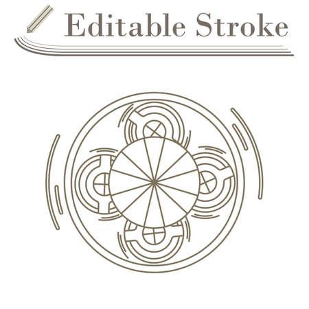 Carousel Top View Icon. Editable Stroke Simple Design. Vector Illustration.