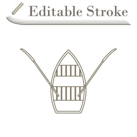 Paddle Boat Icon. Editable Stroke Simple Design. Vector Illustration.