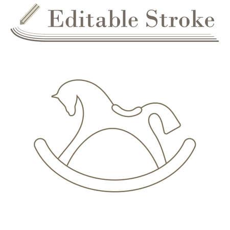 Rocking Horse Icon. Editable Stroke Simple Design. Vector Illustration.
