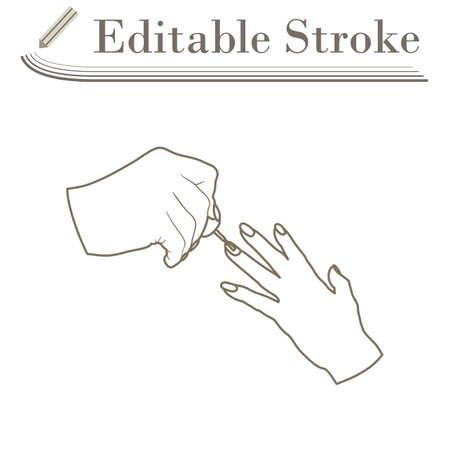 Manicure Icon. Editable Stroke Simple Design. Vector Illustration.