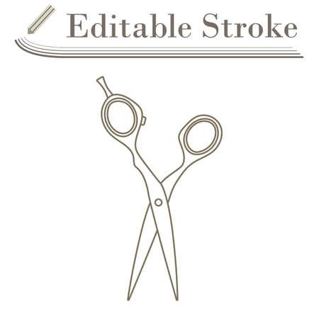 Hair Scissors Icon. Editable Stroke Simple Design. Vector Illustration.