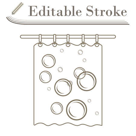 Bath Curtain Icon. Editable Stroke Simple Design. Vector Illustration.