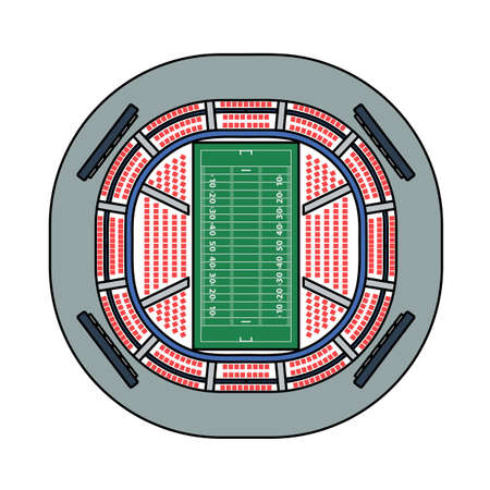 American Football Stadium Bird's-eye View Icon. Editable Outline With Color Fill Design. Vector Illustration.