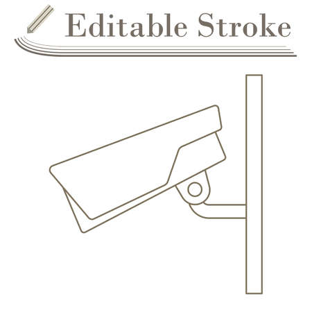Security Camera Icon. Editable Stroke Simple Design. Vector Illustration.