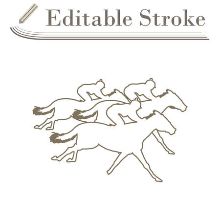 Horse Ride Icon. Editable Stroke Simple Design. Vector Illustration.